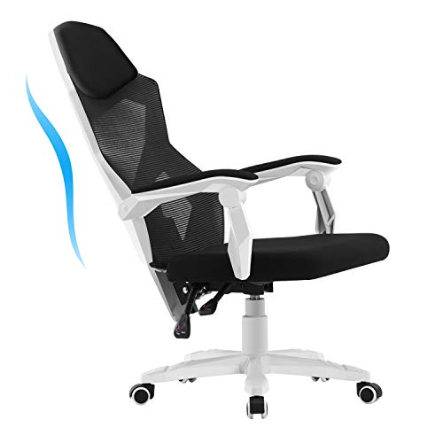 HOMEFUN Ergonomic Office Chair, High Back Adjustable Mesh Recliner Chair, Desk Task Chair with Armrests, White chair gaming white