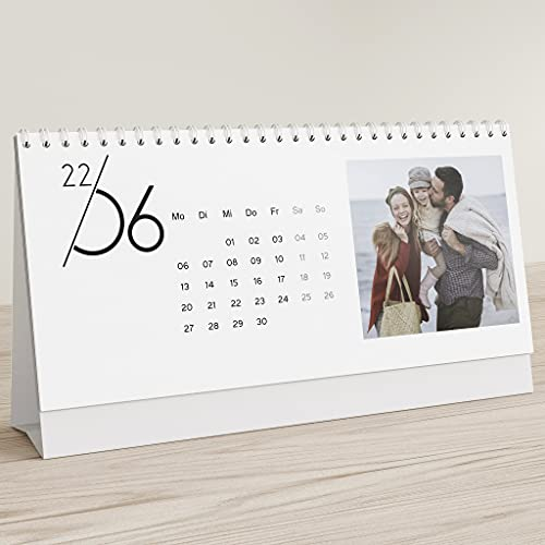 sendmoments Fotokalender 2022, Jahreskalender, Kalender für Digitale Fotos, Tischkalender zum Aufstellen mit persönlichen Bildern, Spiralbindung, Querformat 260x120, optional mit Veredelung