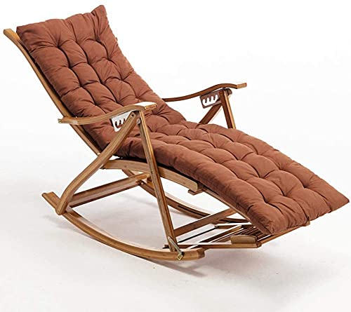 ZGYZ Bamboo Recliner,Outdoor Folding Lounge Chair Garden Sun Lounger Leisure Rocking Chair with Headrest and Extended Footrest,Adjustable Backrest,Family Chair