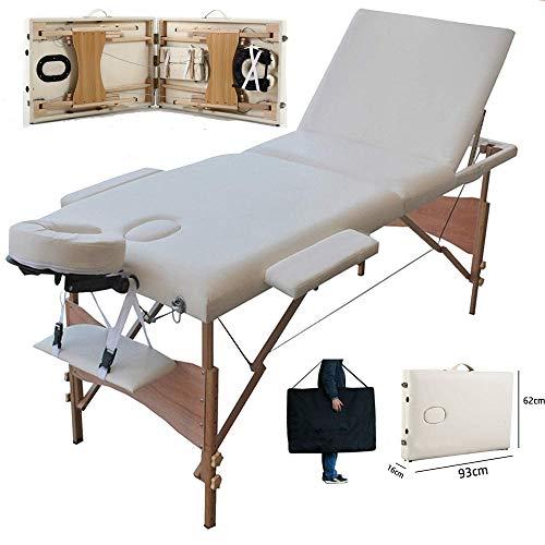 Massagetisch Massageliege Massagebank Mobile Kosmetikliege Klappbar Leicht Tragbar, Tragbaren Höhenverstellbaren Holzfüßen, 3 Zonen Massage Kosmetik Bank Ttisch, bis 230kg belastbar, Beige