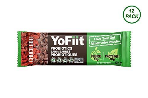 Goji-Chocolate High Fiber Protein Bars. Low Sugar, Gluten Free, Soy Free, Dairy Free (Vegan), Non-GMO. with Probiotics & Prebiotics for Healthy Digestion (12 Pack)