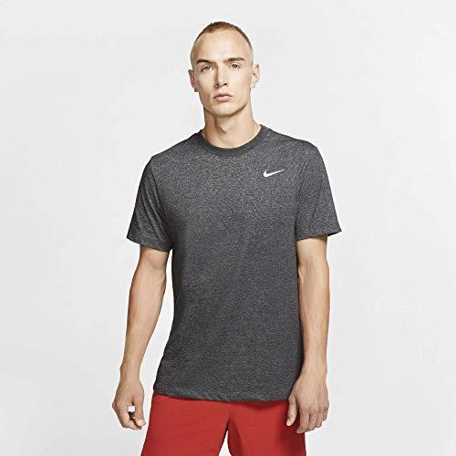 Nike Men's Dry Tee Drifit Cotton Crew Solid, Black/Heather/Mattelic Silver, Large