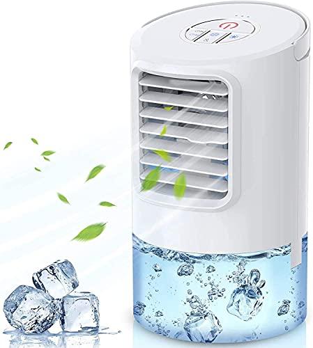 Mini condizionatore d'aria 4 in 1, ventilatore Fan di raffreddamento personale, umidificatore, purificatore d'aria, 3 velocità di fan, 2 tempi, 7 fan del tavolo