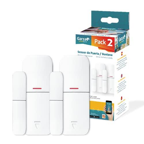 Garza ® Smarthome - Pack de 2 unidades sensor apertura de puertas y ventanas radiofrecuencia para kit de alarma de Garza, control remoto a traves de App iOS/Android.
