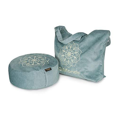 DiMonde Zafu - Cojín de meditación y yoga redondo con bolsa de Suecia – Funda extraíble y lavable – Relleno de Sarrasin – Asa lateral – Mandala – Altura 13 cm – Diámetro 33 cm – Verde