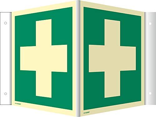 Schild Erste Hilfe HIGHLIGHT PVC 14,8 x 14,8 cm Leuchtdichte: 160 mcd/m² (Winkelschild, Nasenschild, Notarzt,)