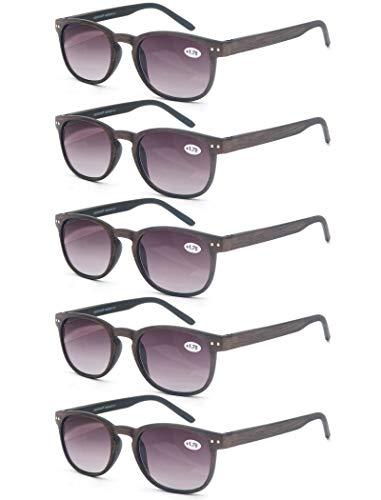 Un Pack de 5 Gafas de Lectura 1.0 para Hombres/Mujeres - Lente Clara,Vision Clara,Efecto Madera - Moda,Practicas,Ligeras,Comodas