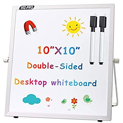 VIZ-PRO Small Desktop Dry Erase Board/Portable Whiteboard Easel for Kids 10 x 10 Inches with 2 Markers