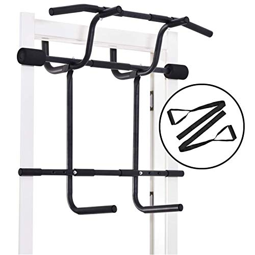Estelys Multi-Gym Pull-Up Bar Doorway Trainer Dip Bar & Power Ropes, Heavy Duty Chin-Up Bars for Door Frames Without Drilling, for A Total Body Home Workout