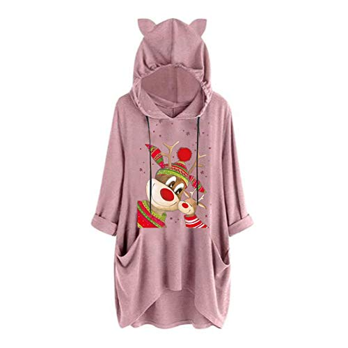 Womens Casual Merry Christmas Print Hoodies Cat Ear Hooded Long Sleeve Sweatshirts Hooded Pullover Blouses with Pocket