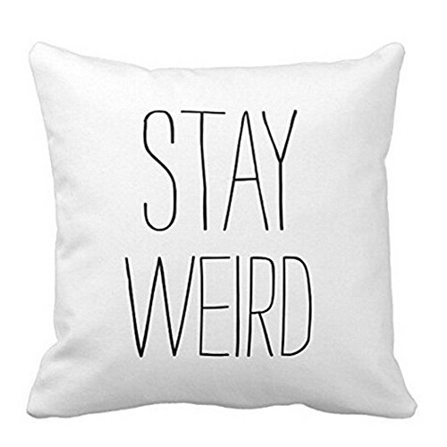 Leaveland Sofa Bed Home Decor Festival Funny Quotes Polyester Throw Pillow Case Cushion Cover (Stay Weird) 20 x 20 Inches