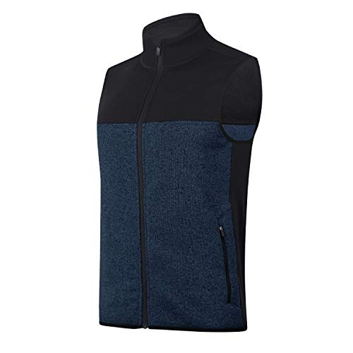 beroy Vest Jacket for Men Full Zip Soft Sweater Fleece Vest Sleeveless Jacket with 2 Zipper Pockets(Navy,2XL)