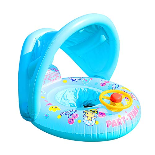 Swimming Ring,Sunshade Thickened Swimming Cartoon Children Inflatable Swimming Ring Steer,Baby Swimming Ring Sunshade Steering Wheel Floating Summer Child Seat Inflatable Boat Toy Pool Tube (Blue)
