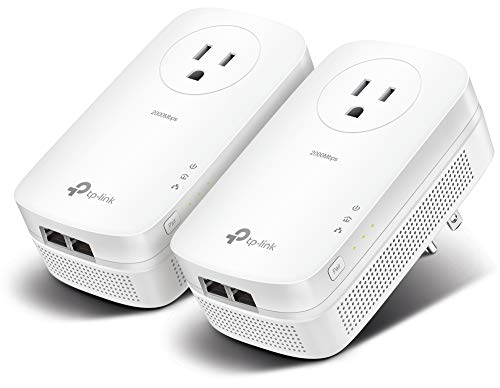 TP-Link AV2000 Powerline Adapter - 2 Gigabit Ports, Ethernet Over Power, Plug&Play, Power Saving, 2x2 MIMO, Noise Filtering, Extra Power Socket for other Devices, Ideal for Gaming (TL-PA9020P KIT)