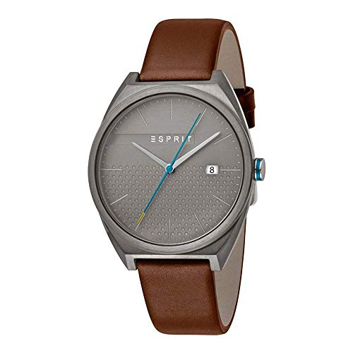 Esprit Herren Analog Quarz Uhr mit Leder Armband ES1G056L0035
