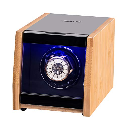 Watch Winder Made of Premium Natural Bamboo Shell for 6 Automatic Watches with High-Gloss Craftsmanship, 4 Setting Modes and Super Quiet Motor, Built-in Lock (Wooden)
