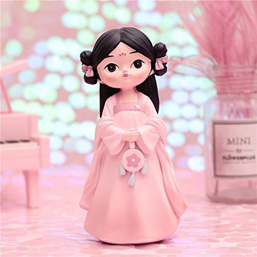 HIL Creatieve Hanfu Meisje Hars Pop, Retro Stijl Decoratie Decoratie, Woonkamer Slaapkamer Desktop Decoratie Verjaardagscadeau Kerstcadeau Kind Cadeau,Pink