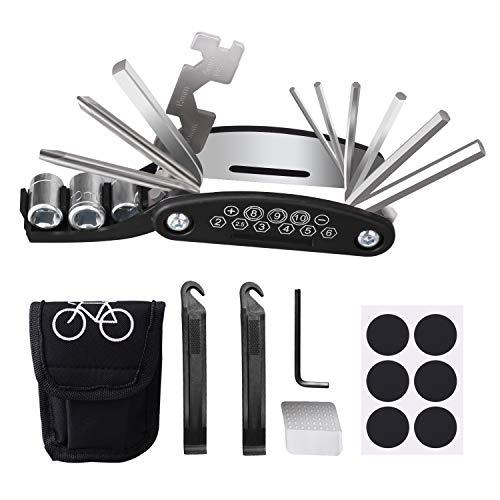 16 en 1 Kit de Herramientas para Bicicleta, Multiherramienta para Bicicleta, Kit Pinchazos Bici, Herramienta de Reparación Multifunción para Bicicleta con Bolsa, Parches y Palancas para Neumát