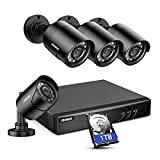 ANNKE 8CH H.265+ 5MP Lite Surveillance Camera System with 4pcs 1920TVL Wired CCTV Cameras, IP66 Weatherproof for Indoor Outdoor Use, Motion Alert Remote Access, 1TB Hard Drive Included - E200