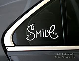 Smile Car Decal - Happiness Sticker, Smiley Face Typographic Decal - Car Window Decal (5 inches Wide, White)