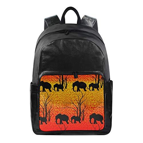 Alarge Zaino Tribale Elefante Leopardo Modello Multi Funzione Business Bag Scuola College Tela Book Bag Viaggi Escursionismo Campeggio Zaino Zaino