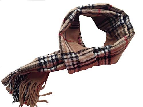 LEGADO Bufanda cuadro escoces suave bufanda de poliester estilo de cuadro de invierno bufanda caliente para los hombres y los niños de color facilmente combinable. (BEIGE)