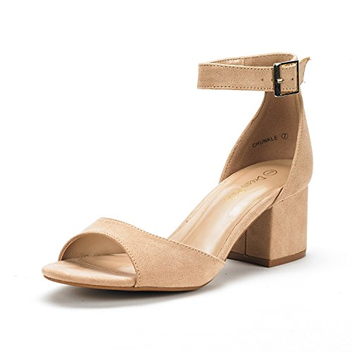 DREAM PAIRS Women's Chunkle Nude Suede Low Heel Pump Sandals Ankle Strap Dress Shoes - 9.5 M US