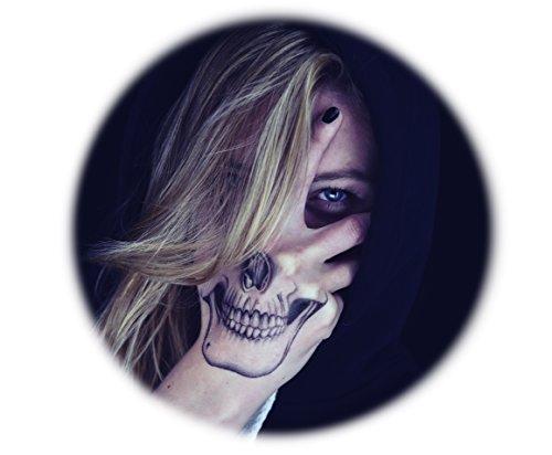 Tattoocrew® 2 x Halloween Tattoos Totenkopf Skull zum Aufkleben auf die Hand