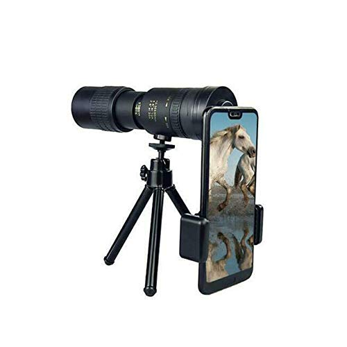 Aeomtig 4k 10-300x40mm Super Telephoto Zoom Monocular Telescope, Portable HD Cell Phone Lens with Smartphone Holder and Tripod, Suitable for Smartphones and Sightseeing Trips (con trípode y Clip)