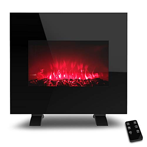 LIFEPLUS Electric Fireplace, 26 Inch Fireplace Heater with Wall Mounted and Freestanding, Adjustable Flame LED Colors, Log & Crystal Hearth Options, Remote Control, Touch Screen, 24H Timer
