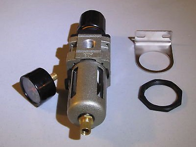 "3/8"" Compressed Air Filter/ Pressure Regulator combo W/gauge, bracket & nut from Liberty Pneumatics"
