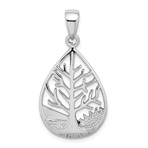 925 Sterling Silver Tree Teardrop Pendant Charm Necklace Outdoor Nature Fine Jewellery For Women Gifts For Her
