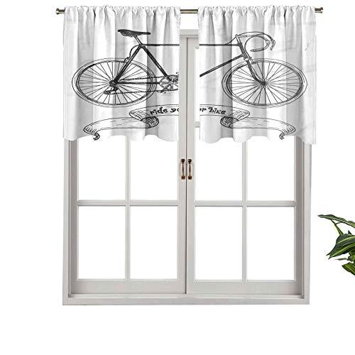 "Hiiiman Cenefas de cortina opacas, paneles de cortina de bolsillo corto para barra con texto en inglés ""Ride Your Bike Hand"", juego de 2, 137 x 60 cm para cocina y baño"