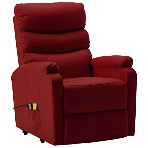 Tidyard Massagesessel mit Aufstehhilfe Liegestuhl Relaxsessel Massage und Heizung Fernsehsessel Liegesessel TV Sessel Ruhesessel Polstersessel Weinrot Kunstleder