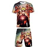 MLX-BUMU Naruto Chándal Harajuku Casual Street Sudadera de Dos Piezas Camiseta Pantalones Cortos Hombre Traje de Verano Ropa Deportiva XXS
