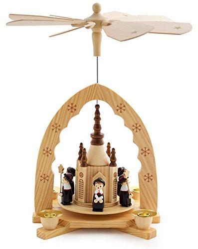 MABAMAHO Klassische Weihnachtspyramide aus Holz mit 4 Kerzenhaltern (ohne Kerzen) - handbemalte Sternensinger - handbemalte Figuren