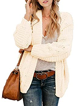 Dokotoo Womens Plus Size Open Front Long Sleeve Casual Cable Knit Chunky Ribbed Winter Sweaters Oversized Fashion Loose Cardigans Sweater Coats Outerwear Cream XX-Large