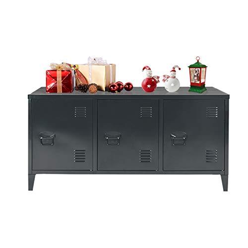 Mueble de Oficina Cosy Colchón Negro, Gran Espacio de 2 Capas, 3 Puertas de Metal, Mueble de Oficina, aparador de Almacenamiento, Armario con Estante Negro, 120 x 40 x 58 cm