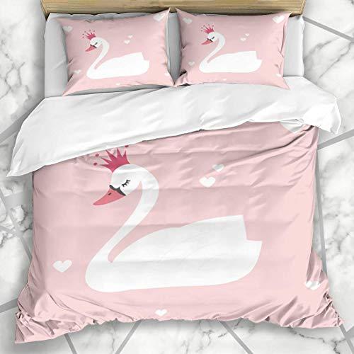 ZOANEN Bettwäsche - Bettwäscheset Feenhafte grafische niedliche reizende Prinzessin Swan On Nature Pink Crown Pastel Abstract Design Mikrofaser weich dreiteilig Mit 2 Kissenbezügen 135 * 200