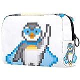 Bolsa de maquillaje personalizada para brochas de maquillaje, bolsa de aseo portátil para mujeres, bolso cosmético, organizador de viaje, superhéroe pingüino