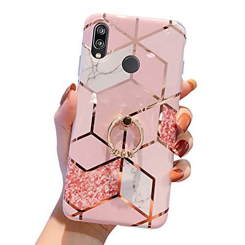 MoreChioce kompatibel mit Huawei P20 Lite Hülle,Huawei P20 Lite Hülle Marmor,Kreativ Geometrie Bling Sparkle Matt Weich Silikon Handyhülle mit Ring Ständer Transparent Crystal Bumper,Gold Marmor Ring