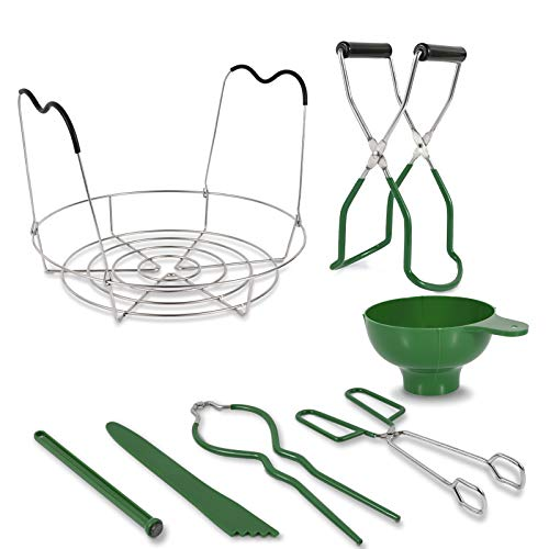 7 in 1 Canning Kit Include Steamer Rack,Canning Funnel,Jar Lifter,Wrench, Tongs,Lid Lifter/Bubble Remover Tool.Suitable for easy learning and making of household mason canning (Green)