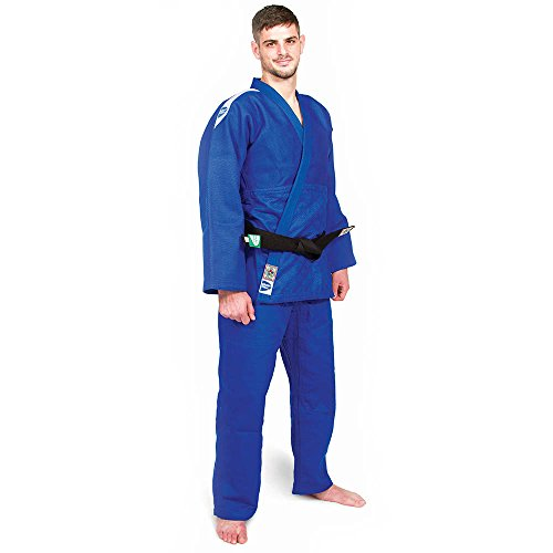 GREEN HILL Judo GI Professional IJF Approved Double Weaved on Grain Fabric as per IJF Standards Made of Heavy Weight 100% Cotton Choice of World Champions (Jacket & Pant) (Blue, 4/170 Slim FIT)