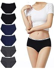 FALARY Unterhosen Damen Unterwäsche Baumwolle Mittel Taille Panties 6er Pack