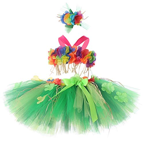 Tutu Dreams 3pcs Hawaiian Hula Luau Tutu Set (2 Sizes: Girls,Baby) Birthday Beach Party (Green Flower, 5-6X)