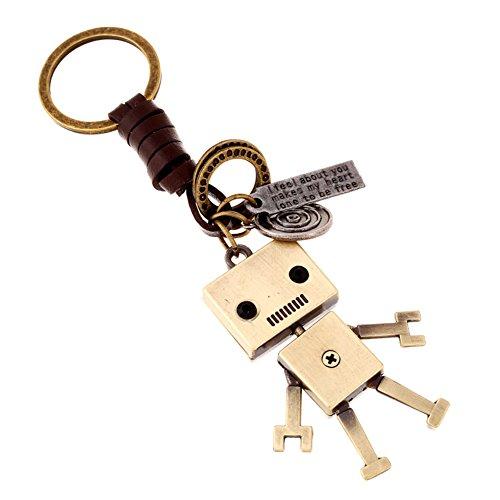 Demarkt Robot Retro Key Ring Metal Keychain Key Ring Auto Key Pendant Accessories are split cowhide Hand Woven