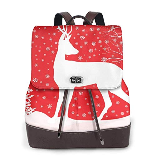 Women'S Leather Backpack,Christmas Winter Landscape Deer Print Women'S Leather Backpack