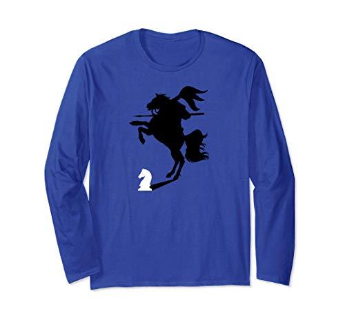 馬に乗った騎士の影を持つチェスの騎士 長袖Tシャツ