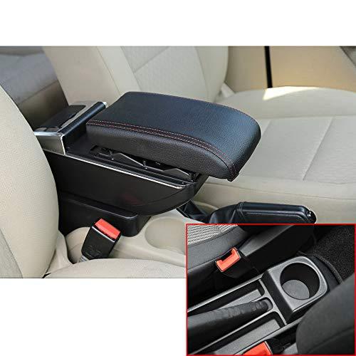 Muchkey de Voiture Accoudoir Boîte sans USB pour 2010-2017 Polo Vento Accoudoir Console Centrale Cuir PU Accessoires de décoration d'intérieur Noir