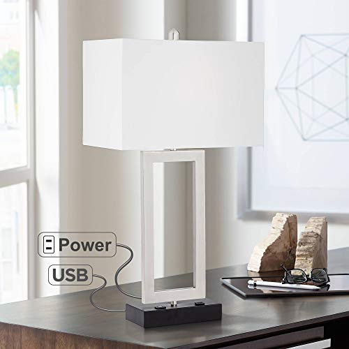 Todd Modern Table Lamp with Hotel Style USB and AC Power Outlet